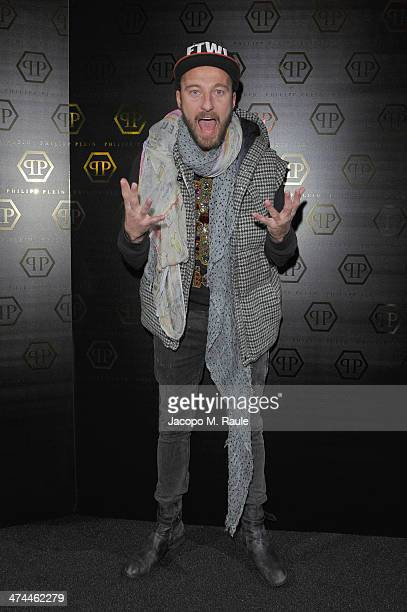 Francesco Facchinetti attends the Philipp Plein show as part of Milan Fashion Week Womenswear Autumn/Winter 2014 on February 23 2014 in Milan Italy