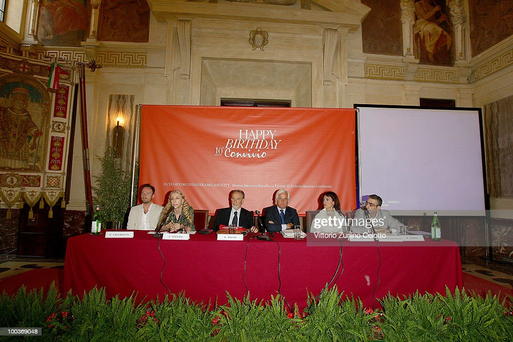 Francesco Facchinetti, Franca Sozzani, Mauro Moroni, Giampaolo Landi Di Chiavenna, Maria Grazia Cucinotta, Mirko Achilli attend the Convivio 2010 Press Conference held at Palazzo Marino on May 24, 2010 in Milan, Italy.