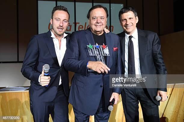 Francesco Facchinetti Paul Sorvino and Fabrizio Frizzi attend Gala Telethon during the 9th Rome Film Festival at Auditorium Parco Della Musica on...