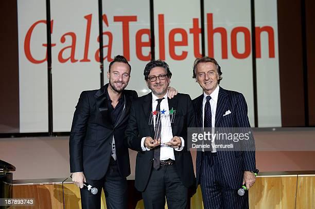 Francesco Facchinetti Sergio Castellitto and Luca Cordero di Montezemolo attend the Gala Telethon 2013 Roma during The 8th Rome Film Festival on...