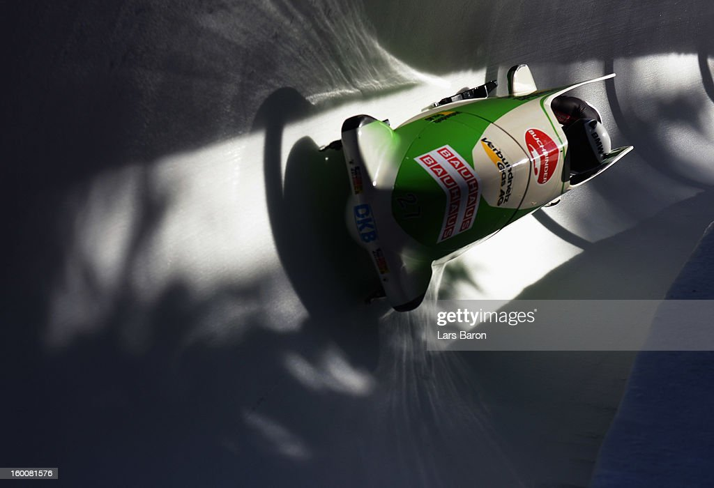 Francesco Friedrich and Jannis Baecker of Germany compete during the Two Men Bobsleigh heat 2 of the IBSF Bob & Skeleton World Championship at Olympia Bob Run on January 26, 2013 in St Moritz, Switzerland.