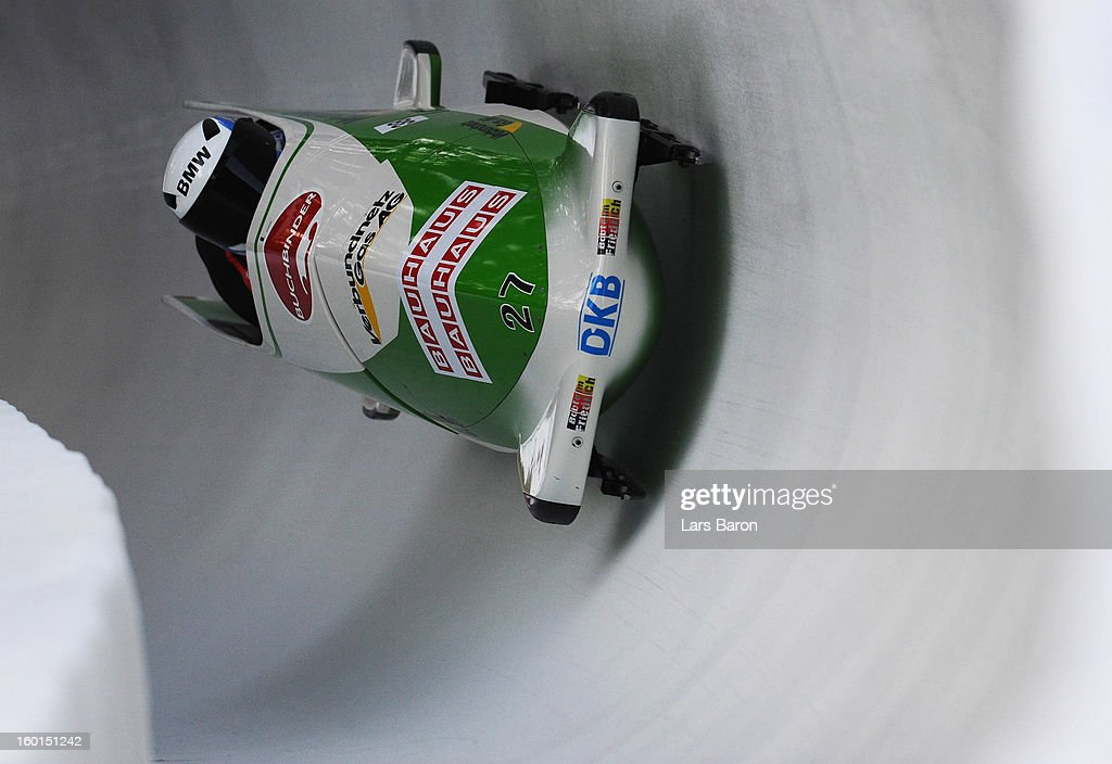 Francesco Friedrich and Jannis Baecker of Germany compete during the Two Men Bobsleigh heat 3 of the IBSF Bob & Skeleton World Championship at Olympia Bob Run on January 27, 2013 in St Moritz, Switzerland.