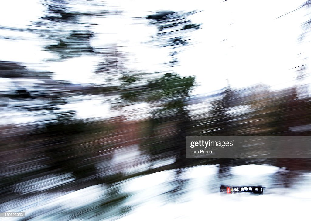 Francesco Friedrich, Axel Christ, Gino Gerhardi and Thorsten Margis of Germany compete during a training session at Olympia Bob Run on January 29, 2013 in St Moritz, Switzerland.