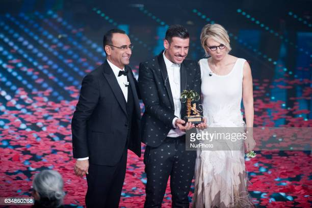 Francesco Gabbana Carlo Conti and Maria De Filippi attends the closing night of 67th Sanremo Festival 2017 at Teatro Ariston on February 11 2017 in...
