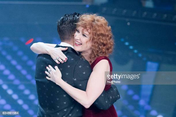 Francesco Gabbani and Fiorella Mannoia attend the closing night of 67th Sanremo Festival 2017 at Teatro Ariston on February 11 2017 in Sanremo Italy