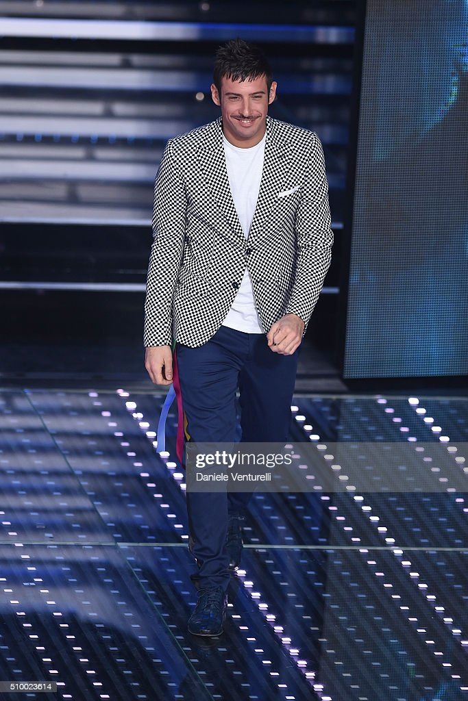 Francesco Gabbani attends the closing night of 66th Festival di Sanremo 2016 at Teatro Ariston on February 13, 2016 in Sanremo, Italy.