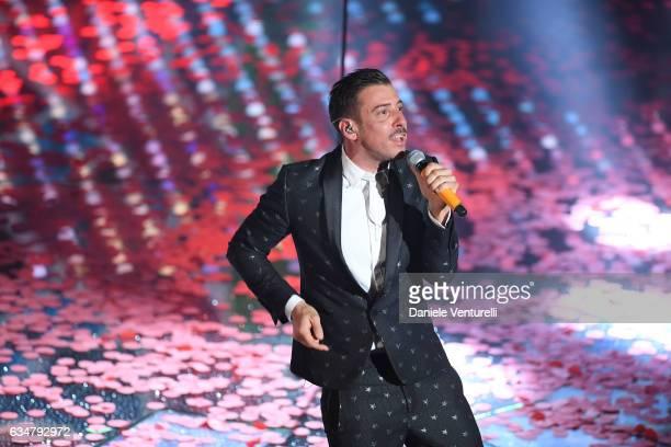 Francesco Gabbani attends the closing night of 67th Sanremo Festival 2017 at Teatro Ariston on February 11 2017 in Sanremo Italy