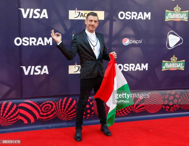 Francesco Gabbani from Italy poses during the Red Carpet ceremony of the Eurovision song Contest in Kiev 7 May 2017 The Eurovision Song Contest 2017...