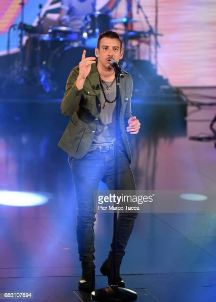 Francesco Gabbani performs on stage during 'Che Tempo Che Fa' tv show at Rai Milan Studios on May 14 2017 in Milan Italy