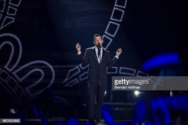 Francesco Gabbani the contestant from Italy performs at the Eurovision Grand Final on May 13 2017 in Kiev Ukraine Ukraine is the 62nd host of the...
