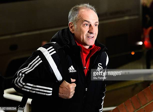 Francesco Guidolin manager of Swansea City arrives for the Barclays Premier League match between Newcastle United and Swansea City at St James' Park...