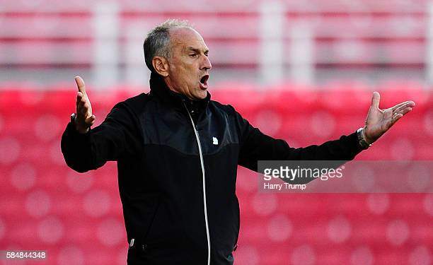 Francesco Guidolin Manager of Swansea City during the Pre Season Friendly match between Swindon Town and Swansea City at the County Ground on July 27...