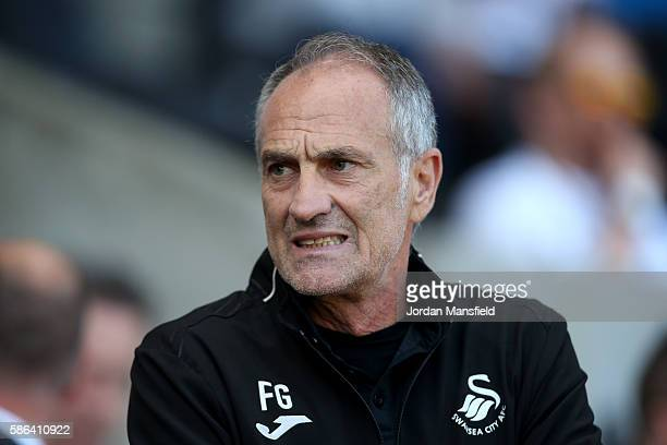 Francesco Guidolin manager of Swansea City looks on during the preseason friendly between Swansea City and Stade Rennais at Liberty Stadium on August...