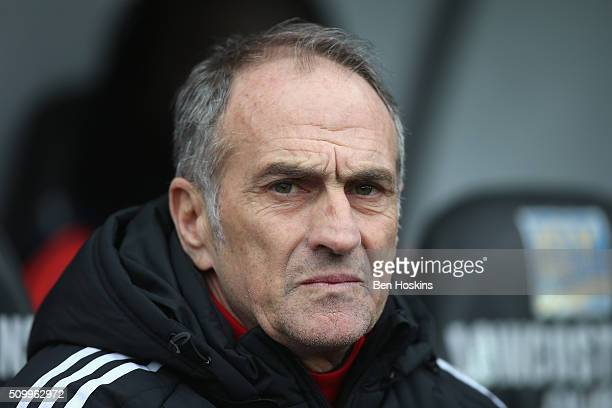 Francesco Guidolin Manager of Swansea City looks on prior to the Barclays Premier League match between Swansea City and Southampton at Liberty...