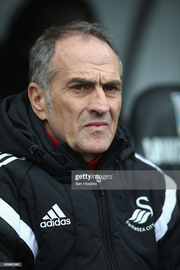 <a gi-track='captionPersonalityLinkClicked' href=/galleries/search?phrase=Francesco+Guidolin&family=editorial&specificpeople=770478 ng-click='$event.stopPropagation()'>Francesco Guidolin</a>, Manager of Swansea City looks on prior to the Barclays Premier League match between Swansea City and Southampton at Liberty Stadium on February 13, 2016 in Swansea, Wales.