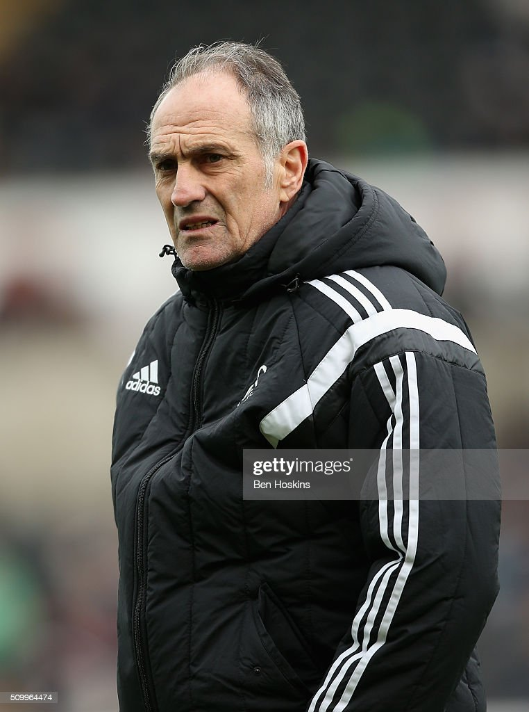 Francesco Guidolin, Manager of Swansea City looks on prior to the Barclays Premier League match between Swansea City and Southampton at Liberty Stadium on February 13, 2016 in Swansea, Wales.