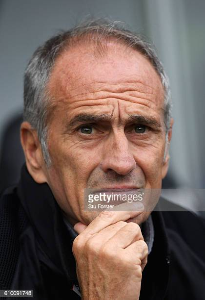Francesco Guidolin manager of Swansea City looks on prior to the Premier League match between Swansea City and Manchester City at the Liberty Stadium...