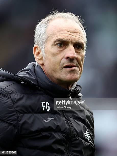 Francesco Guidolin Manager of Swansea City looks onduring the Premier League match between Swansea City and Liverpool at Liberty Stadium on October 1...