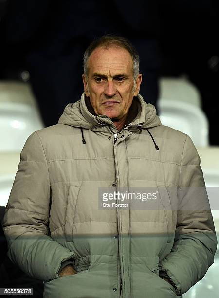 Francesco Guidolin the new manager of Swansea City looks on from the stands before the Barclays Premier League match between Swansea City and Watford...
