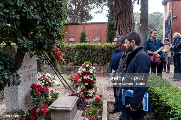 Francesco Laforgia Arturo Scotto Roberto Speranza of the Democratic progressive movement pay homage to the tomb of Antonio Gramsci sited in the third...
