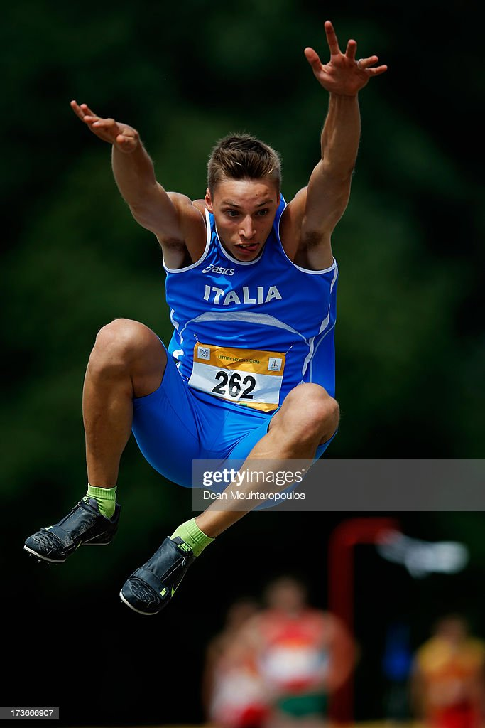 Francesco Lama of Italy competes in the Boys Long Jump during the European Youth Olympic Festival held at the Athletics Track Maarschalkersweerd on July 16, 2013 in Utrecht, Netherlands.
