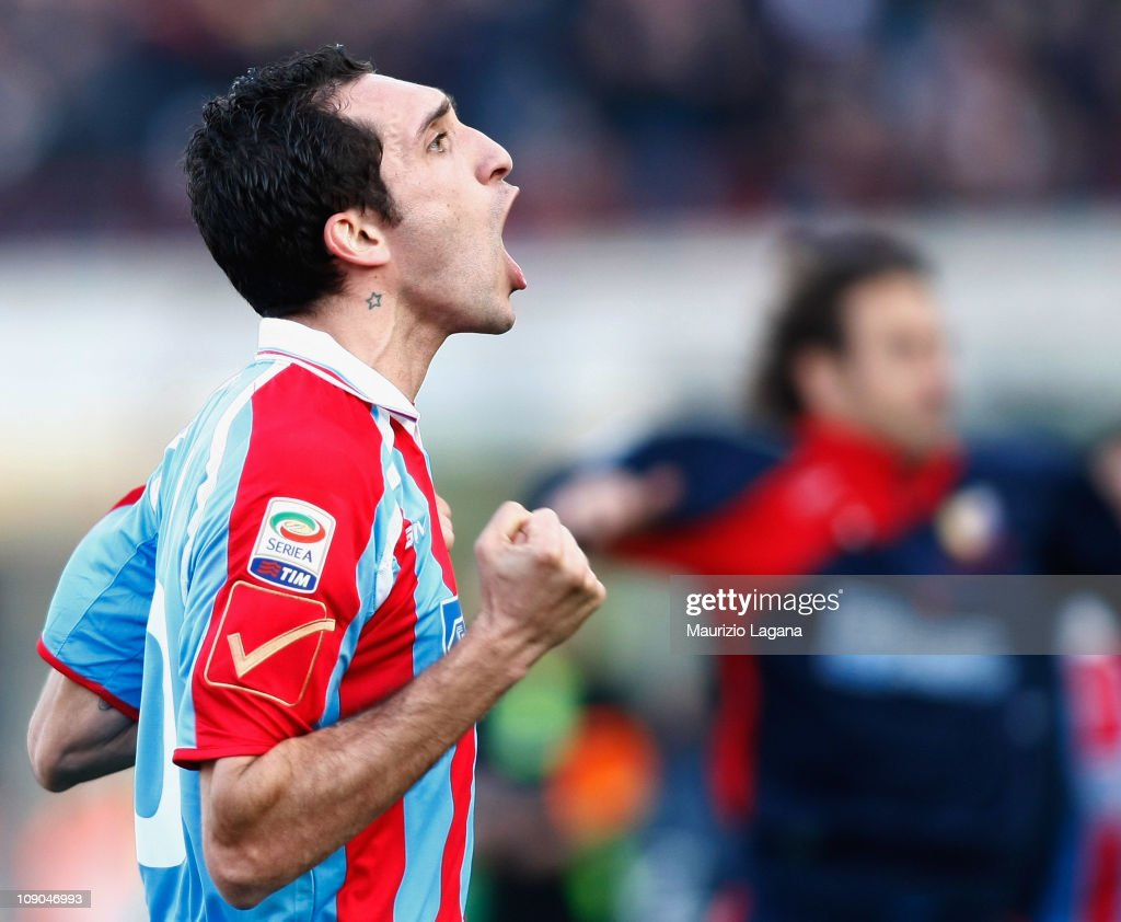 Francesco Lodi of Catania celebrates his goal during the Serie A match between Catania Calcio and Lecce at Stadio Angelo Massimino on February 13...