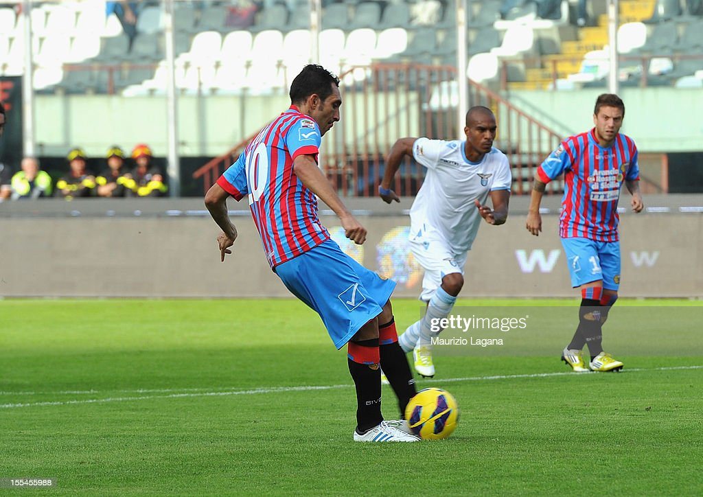 Francesco Lodi of Catania scores wiht penalty his team's second goal during the Serie A match between Calcio Catania and S.S. Lazio at Stadio Angelo Massimino on November 4, 2012 in Catania, Italy.