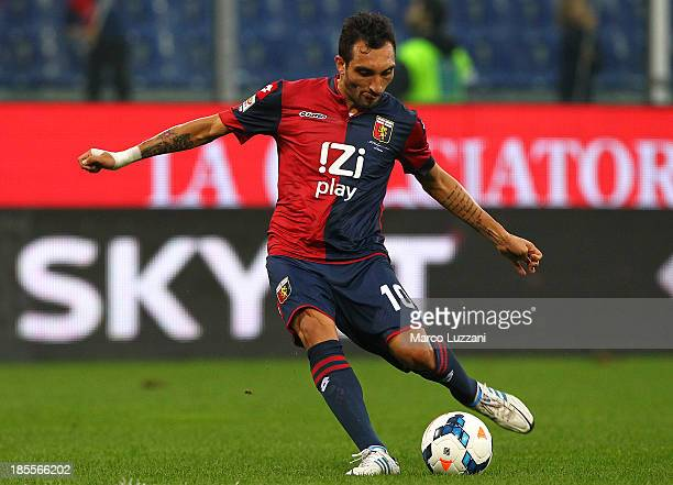 Francesco Lodi of Genoa CFC in action during the Serie A match between Genoa CFC and AC Chievo Verona at Stadio Luigi Ferraris on October 20 2013 in...