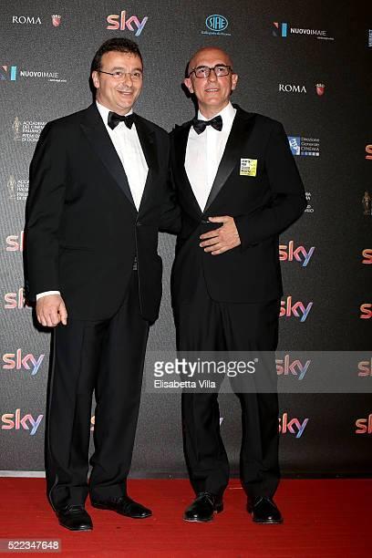Francesco Miccich and Fabio Bonifazi arrive at the 60 David di Donatello ceremony on April 18 2016 in Rome Italy
