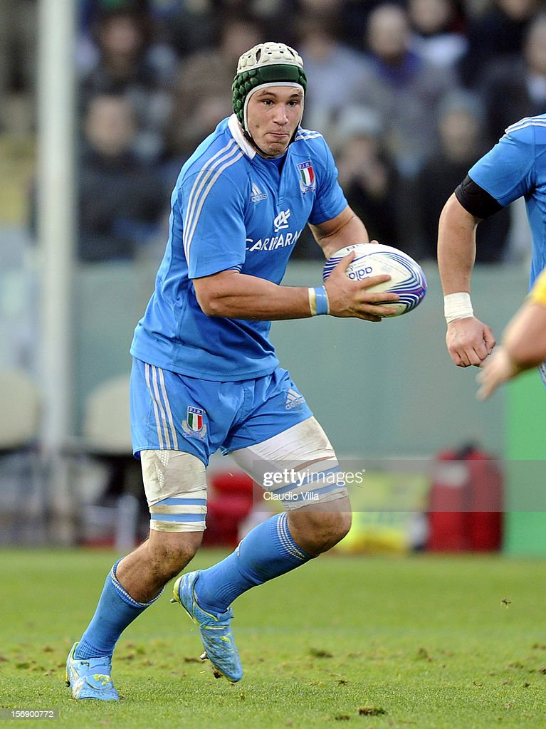 Francesco Minto of Italy during the international rugby test match between Italy and Australia at Artemio Franchi on November 24, 2012 in Florence, Italy.