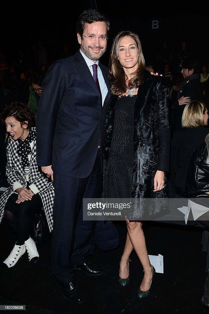 Francesco Moccagatta and Starlite Randall attend the Alberta Ferretti fashion show as part of Milan Fashion Week Womenswear Fall/Winter 2013/14 on February 20, 2013 in Milan, Italy.