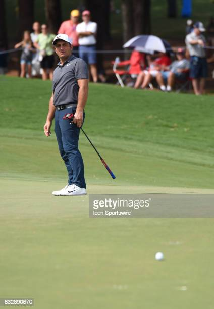 Francesco Molinari looks at his putt on the 10th green during the final round of the PGA Championship on August 13 2017 at Quail Hollow Golf Club in...