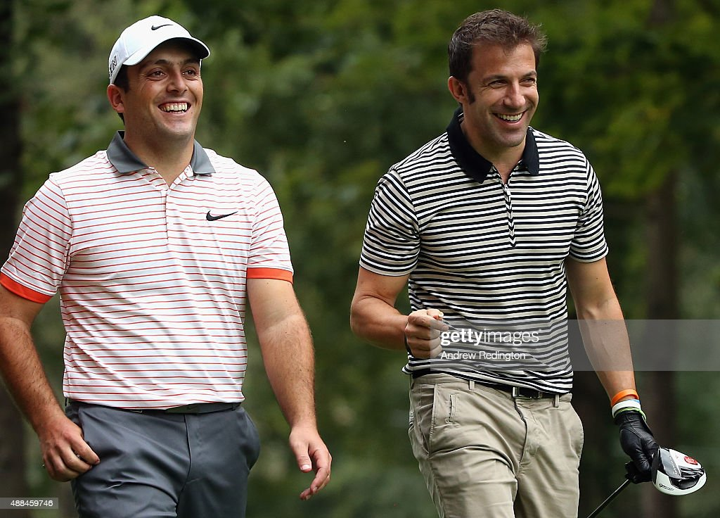 <a gi-track='captionPersonalityLinkClicked' href=/galleries/search?phrase=Francesco+Molinari&family=editorial&specificpeople=637481 ng-click='$event.stopPropagation()'>Francesco Molinari</a> of Italy (left) and <a gi-track='captionPersonalityLinkClicked' href=/galleries/search?phrase=Alessandro+Del+Piero&family=editorial&specificpeople=206226 ng-click='$event.stopPropagation()'>Alessandro Del Piero</a>, former Italy and Juventus footballer, are pictured together during the Pro Am prior to the start of the 72nd Open d'Italia at Golf Club Milano on September 16, 2015 in Monza, Italy.