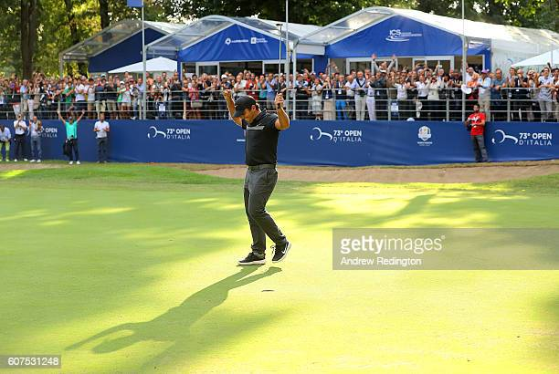 Francesco Molinari of Italy celebrates after holing his putt on the 18th hole to win the Italian Open at Golf Club Milano Parco Reale di Monza on...