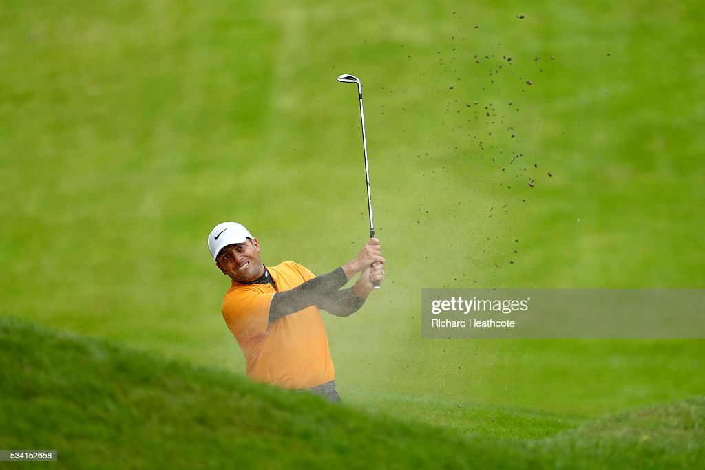 Francesco Molinari of Italy hits from a bunker during the Pro-Am prior to the BMW PGA Championship at Wentworth on May 25, 2016 in Virginia Water, England.