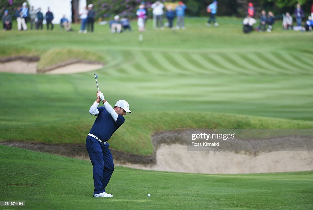 Francesco Molinari of Italy hits his 2nd shot on the 3rd hole during day one of the BMW PGA Championship at Wentworth on May 26, 2016 in Virginia Water, England.