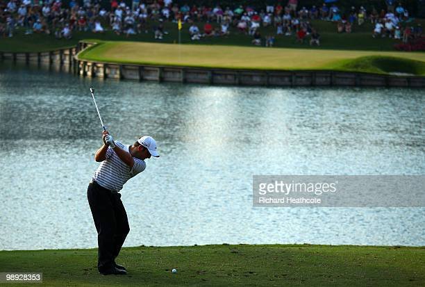Francesco Molinari of Italy hits his tee shot on the 17th hole during the third round of THE PLAYERS Championship held at THE PLAYERS Stadium course...