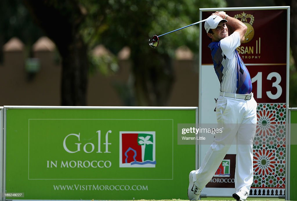 Francesco Molinari of Italy in action during the final round of the Trophee du Hassan II Golf at Golf du Palais Royal on March 31, 2013 in Agadir, Morocco.