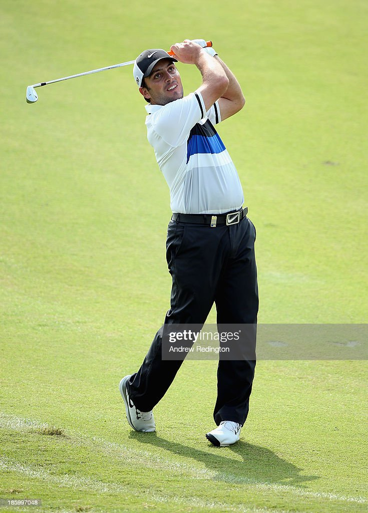 Francesco Molinari of Italy in action during the final round of the BMW Masters at Lake Malaren Golf Club on October 27, 2013 in Shanghai, China.