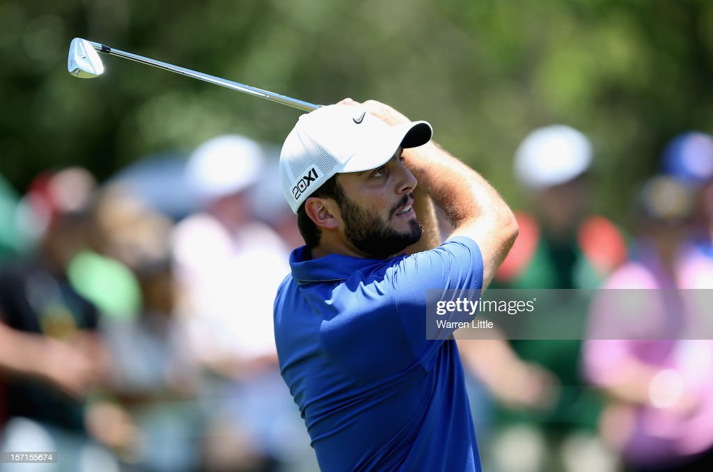 Francesco Molinari of Italy in action during the first round of the Nedbank Golf Challenge at the Gary Player Country Club on November 29, 2012 in Sun City, South Africa.
