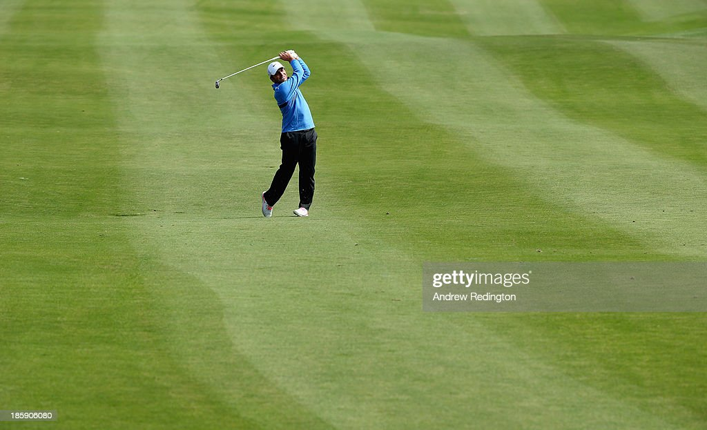 Francesco Molinari of Italy in action during the third round of the BMW Masters at Lake Malaren Golf Club on October 26, 2013 in Shanghai, China.