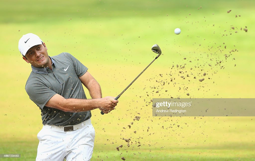 <a gi-track='captionPersonalityLinkClicked' href=/galleries/search?phrase=Francesco+Molinari&family=editorial&specificpeople=637481 ng-click='$event.stopPropagation()'>Francesco Molinari</a> of Italy plays a bunker shot on the 13th hole during the first round of the 72nd Open d'Italia at Golf Club Milano on September 17, 2015 in Monza, Italy.