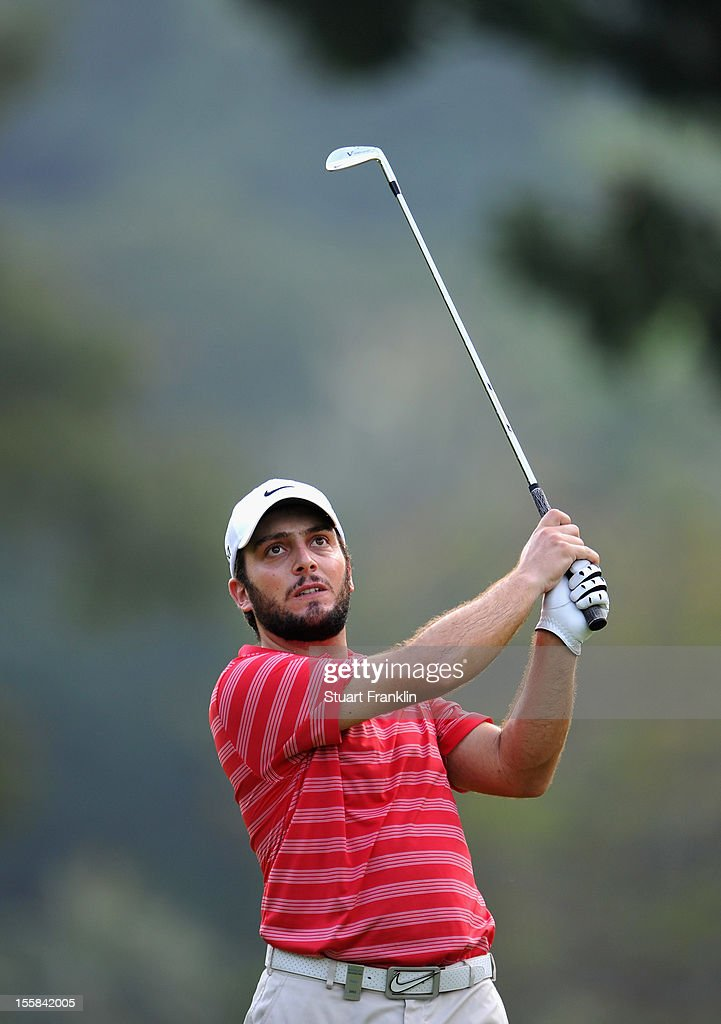 Francesco Molinari of Italy plays a shot during the continuation of the weather delayed first round of the Barclays Singapore Open at the Sentosa Golf Club on November 9, 2012 in Singapore.