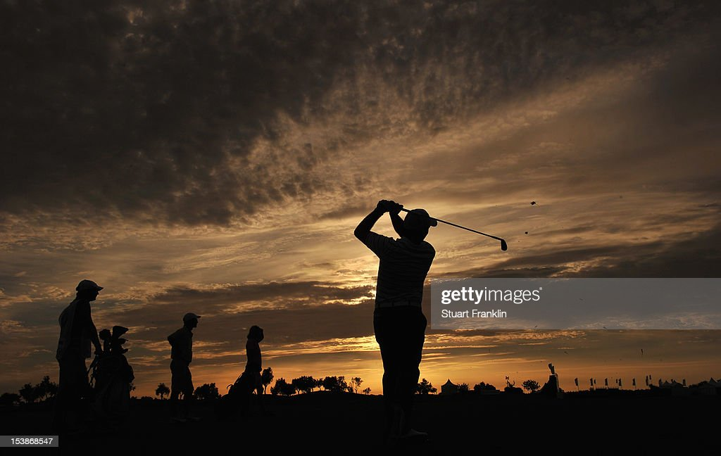 Francesco Molinari of Italy plays a shot during the proam prior to the start of the Portugal Masters at the Victoria golf course at Villamoura on...
