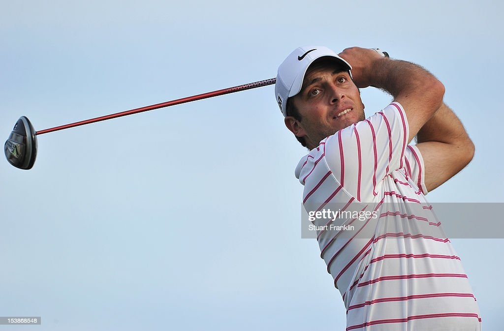 <a gi-track='captionPersonalityLinkClicked' href=/galleries/search?phrase=Francesco+Molinari&family=editorial&specificpeople=637481 ng-click='$event.stopPropagation()'>Francesco Molinari</a> of Italy plays a shot during the pro-am prior to the start of the Portugal Masters at the Victoria golf course at Villamoura on October 10, 2012 in Faro, Portugal.