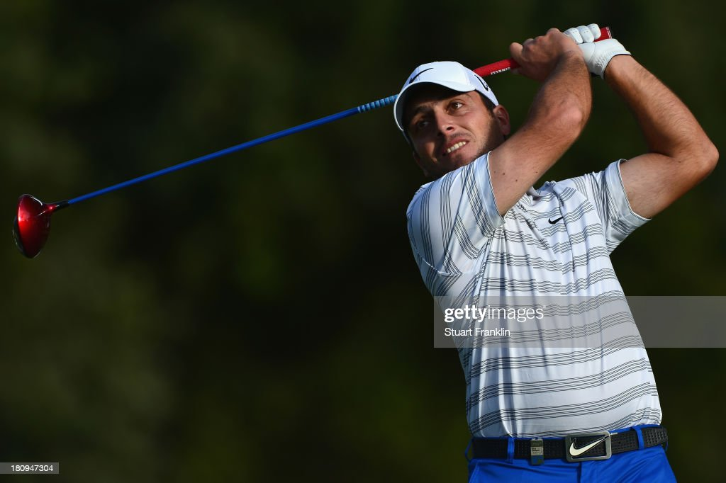 <a gi-track='captionPersonalityLinkClicked' href=/galleries/search?phrase=Francesco+Molinari&family=editorial&specificpeople=637481 ng-click='$event.stopPropagation()'>Francesco Molinari</a> of Italy plays a shot during the pro-am prior to the start of the Italian Open golf at Circolo Golf Torino on September 18, 2013 in Turin, Italy.