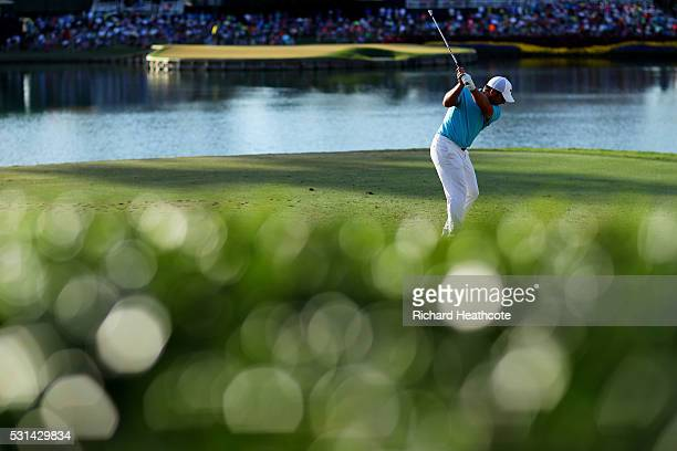 Francesco Molinari of Italy plays his shot from the 17th tee during the third round of THE PLAYERS Championship at the Stadium course at TPC Sawgrass...