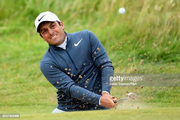Francesco Molinari of Italy plays his third shot on the 8th hole during the second round of the 146th Open Championship at Royal Birkdale on July 21...