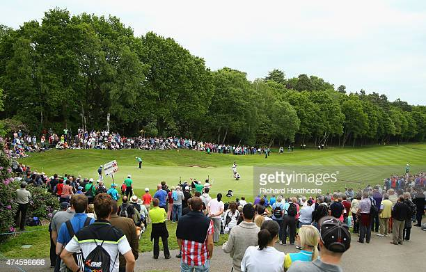 Francesco Molinari of Italy putts on the 3rd green during day 4 of the BMW PGA Championship at Wentworth on May 24 2015 in Virginia Water England