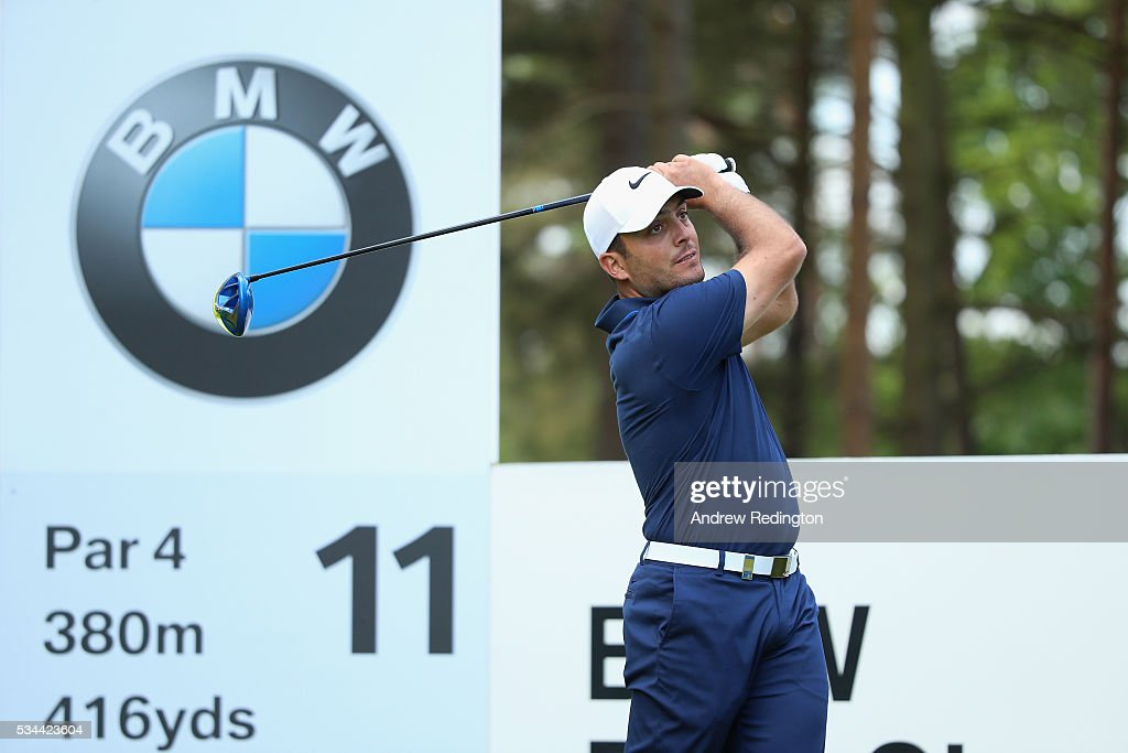 <a gi-track='captionPersonalityLinkClicked' href=/galleries/search?phrase=Francesco+Molinari&family=editorial&specificpeople=637481 ng-click='$event.stopPropagation()'>Francesco Molinari</a> of Italy tees off on the 11th hole during day one of the BMW PGA Championship at Wentworth on May 26, 2016 in Virginia Water, England.